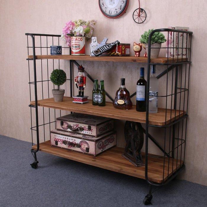 美式複古實木鐵藝餐廳茶水櫃碗櫃餐邊櫃儲物櫃備餐檯廚房置物架(可訂製)