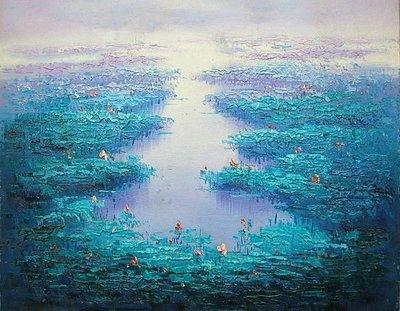 【飲冰室山居閑畫】☆ 純手工油畫—在水一方 4