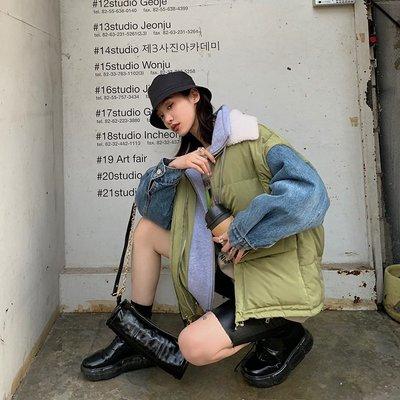 'OVERCOAT'假面派對 19秋冬時髦拼接假兩件牛仔羽絨棉服外套女