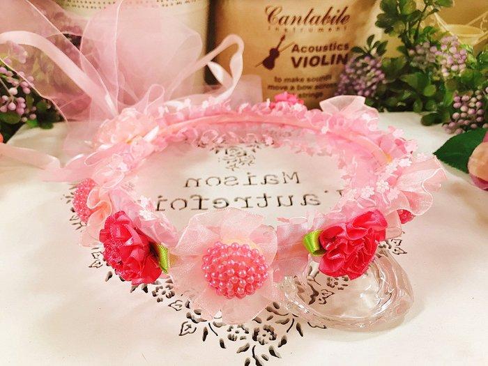 【華蕊】* D款桃粉珠珠小花兒童頭紗 * 髮圈 小花童 公主頭紗 甜美 可愛 蕾絲 花環