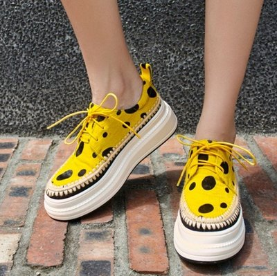 Fashion*厚底松糕鞋~馬毛系帶休閒鞋 豹紋波點黃色系帶厚底鞋/跟高5.5CM 34-40碼『白色 黃色』