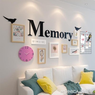 壁畫 北歐網格照片墻裝飾創意個性相框墻組合客廳懸掛夾子相   IGO