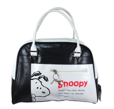 【卡漫迷】 史奴比 皮革 手提包 ㊣版 拉鍊式 史努比 Snoopy 質感 手提袋 肩背袋 肩背包 包包 外出包 女包