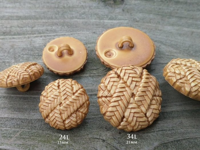 DAda緞帶‧I32178-15/21mm手作風暖駱色編織造型鈕扣(自選)3~2個【德國進口】