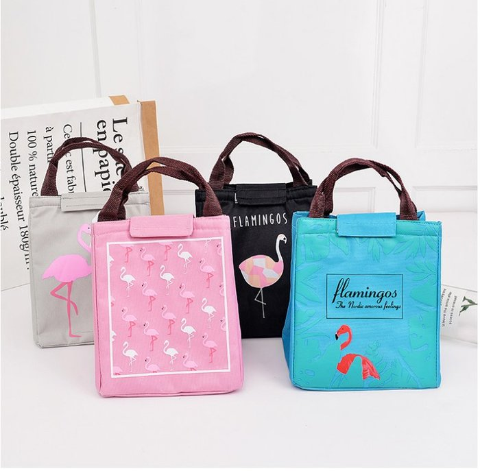 【批貨達人】火鶴鳥圖案手提保溫保冷袋 便當包 飯盒袋
