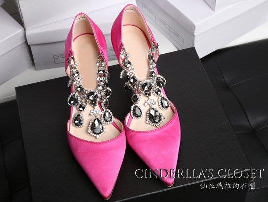 《仙杜瑞拉的衣櫃》現貨 se0269 兩穿式緞面 可拆式華麗水鑽 尖頭高跟鞋 婚禮鞋