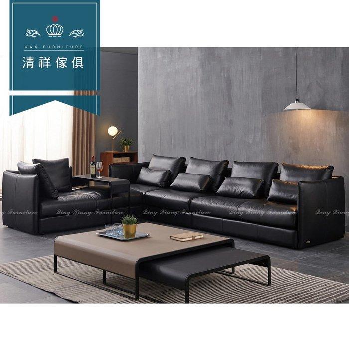 【新竹清祥傢俱】PLS-07LS106-現代時尚L型牛皮沙發 現代 沙發 時尚 L型 牛皮 風格 多人