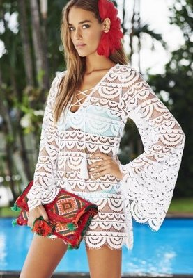 white lace floral beach cover up beachwear swimsuit cover up