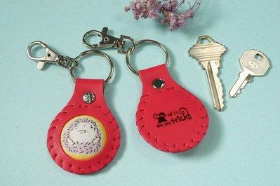 桃紅刺蝟-單面包扣鑰匙圈