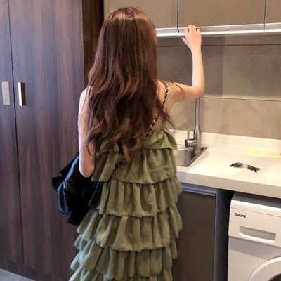 時尚女裙  韓版chic寬松蛋糕裙女春季新款中長款外穿吊帶裙氣質連衣裙潮
