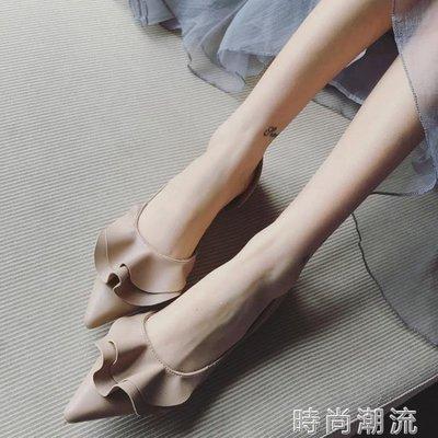 ZIHOPE 低跟鞋春季韓版女鞋甜美風淑女尖頭舒適平底鞋平跟百搭淺口單鞋ZI812