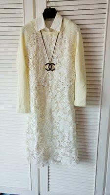 象牙白經典蕾絲花鑲珠針織袖長洋裝