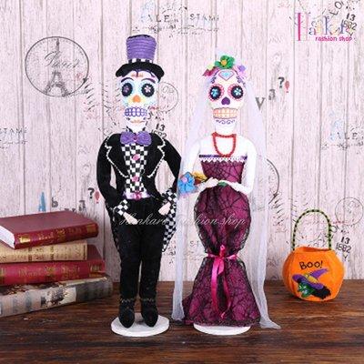 ☆[Hankaro]☆ 歐美創意萬聖節布置道具可站立骷髏新郎新娘造型裝飾