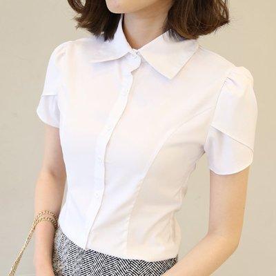 春款OL職業白襯衫女短袖夏裝大碼修身正裝工裝荷葉袖襯衣=長袖襯衫 短袖襯衫 無袖襯衫