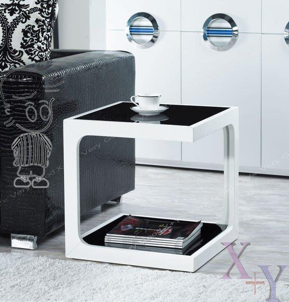 【X+Y時尚精品家具】現代客廳系列-角川 白色小邊几.小茶几.黑色強化玻璃.摩登家具