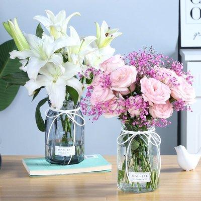 歐式花瓶北歐簡約彩色透明玻璃花瓶水培植物綠蘿花瓶百合客廳裝飾插花擺件