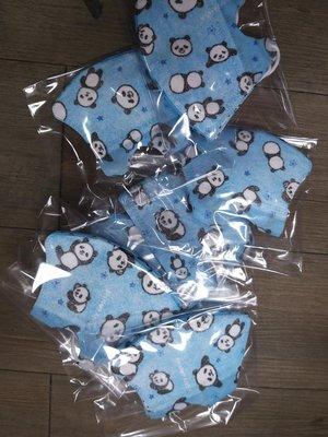 BNN藍底熊貓成人3D立體耳繩口罩(一包5入)