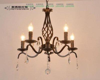 美式鐵藝蠟燭水晶吊燈 637