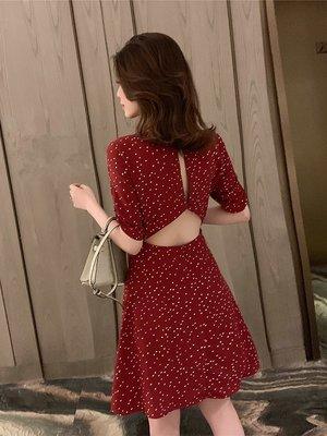 復古小清新 紅色綠色短袖小露背雪紡連身裙連衣裙S~XL 網紅網美女神外出喜宴甜美氣質洋裝