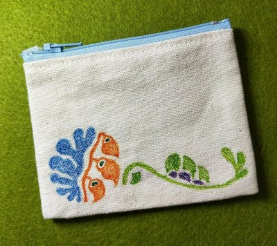 手繪 療癒花草 類版畫 胚布零錢包