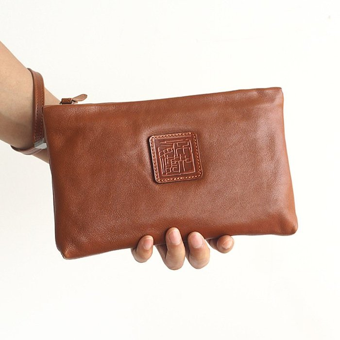 新款意大利進口植鞣頭層牛皮手拿包男女通用復古長款拉鏈包包