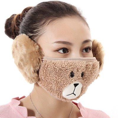 【愛莉絲現貨精品】【買三送一】冬季必備保暖卡通造型小熊絨毛防塵口罩耳罩二合一(編號3/棕色) 現貨