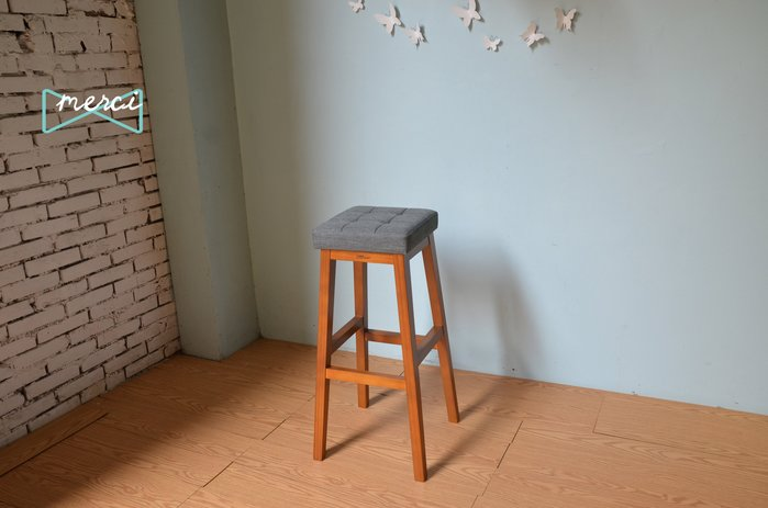 美希工坊JAN-PON吐司吧台椅/中島椅/吧台椅/ 亞麻灰/沙發坐感/柚木椅架