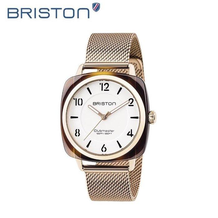 全新正品 briston法國時尚運動手錶 CLUBMASTER CHIC 36MM 玳瑁白面 小沛納海_DW 米蘭錶帶款