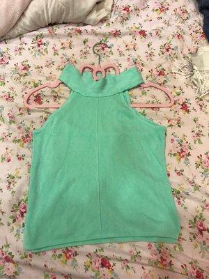 蘋果綠甜美削肩針織背心