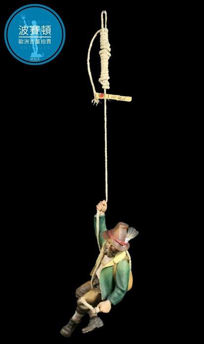 【波賽頓-歐洲古董拍賣】歐洲/西洋古董 西班牙古董 19世紀 大型手工木雕 大鬍子攀岩人(高度66cm)(年份:1940-1950年)
