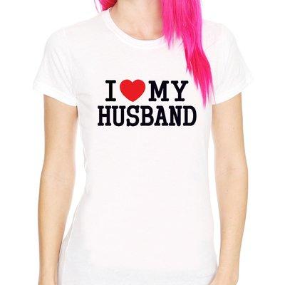 【Dirty Sweet】I Love My Husband 短袖T恤-白色 我愛我的老公 情人節 情侶t 390