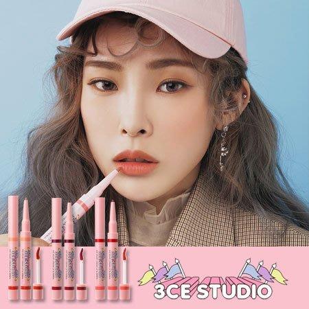 韓國 3CE STUDIO VELVET唇膏 & PENCIL 3.2g+0.2g 唇釉 唇筆 唇彩 唇蜜 雙頭 兩用
