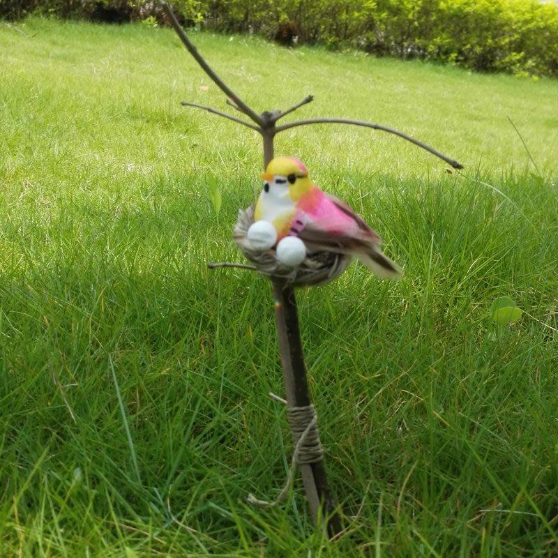 草編鳥窩仿真小鳥 園藝用品 拍攝道具 園林裝飾