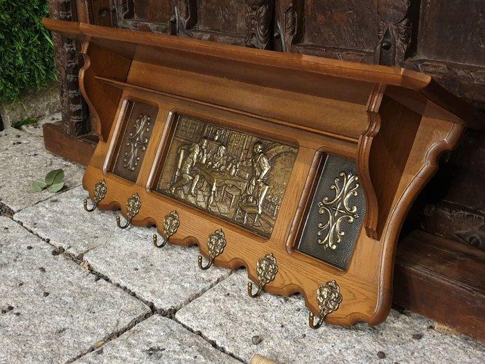 【卡卡頌  歐洲古董】法國老件 高品質 立體銅 橡木雕刻 厚實 掛勾架 衣架  帽架 小物架  ss0606 ✬