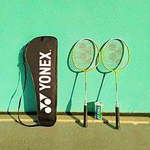 【廿一】yonex 羽毛球拍1對+3球+1袋