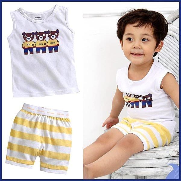 **阿布童裝**【AJC416】小童小熊排排站兩件式短袖套裝(上衣+短褲)80/90/100CM