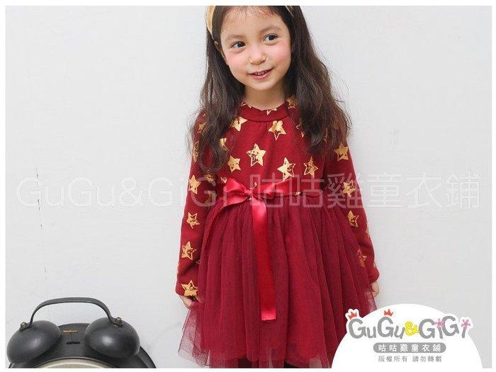 【RG5123007】秋冬款~燙金星星下接網紗櫻桃紅色洋裝$99