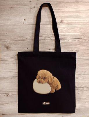 紅貴賓-趴著|黑色款-肩背帆布包|台灣製棉麻布|提袋|毛孩|寵物|泰迪|貴賓狗|貴賓犬|蒼蠅星球