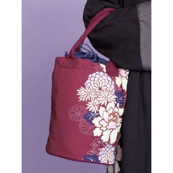日本進口~菊牡丹 和風 束口 水桶包 手提袋 拖特包