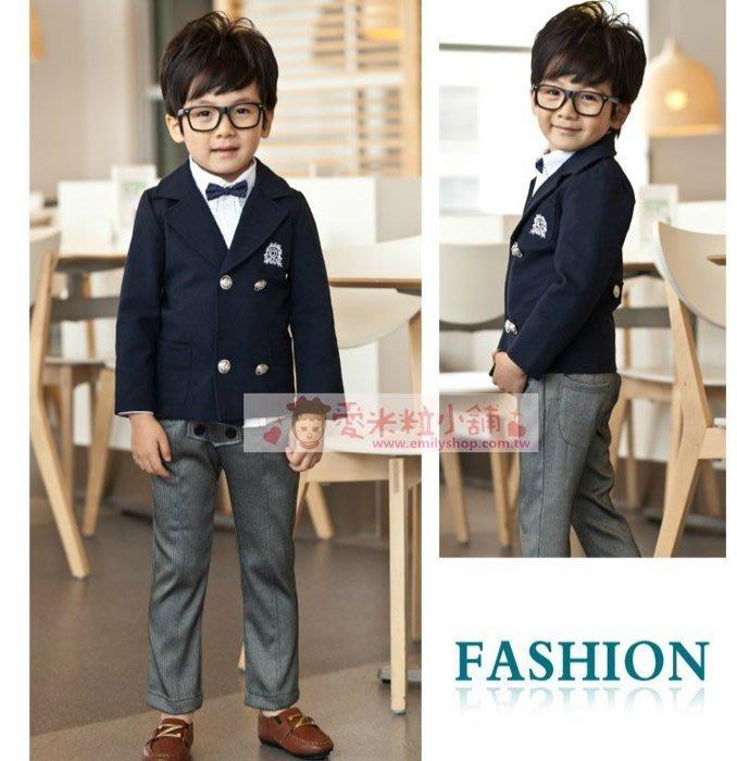 韓版英倫學院風西裝組 深藍外套+灰長褲+襯衫+領結 ☆愛米粒☆