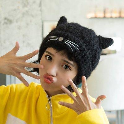 可愛加絨加厚貓耳朵毛線帽子青少年女冬天日韓護耳針織帽