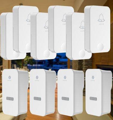 [三永] 開發票 不用電池 專利按壓發電 免電池 防水 無線門鈴 六(發) 四 (收) 時尚款 K01 兩年保固