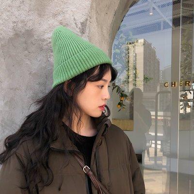 夏季必備 帽子 韓版純色ins洋氣草綠色毛線帽子男女情侶原宿針織冷帽潮