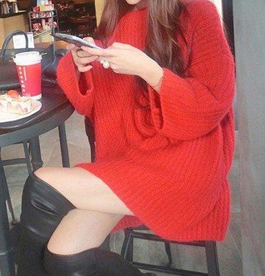 韓國學生喇叭袖上衣女秋冬中長款加厚粗線大新毛衣裙女套頭寬松韓新版ak