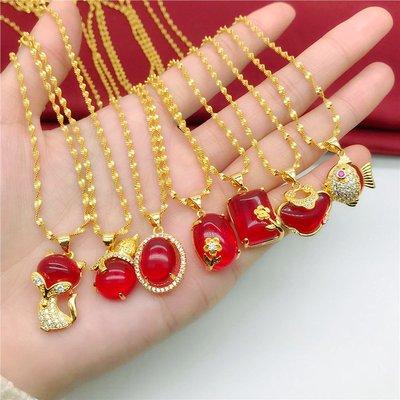 送禮佳品 新款仿越南沙金項鏈女 久不掉色鍍金微鑲紅寶石吊墜 仿金歐幣飾品