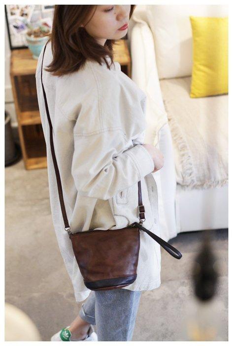 設計感復古手拎水桶包包夏季小清新女包斜挎包新款2019真皮小挎包