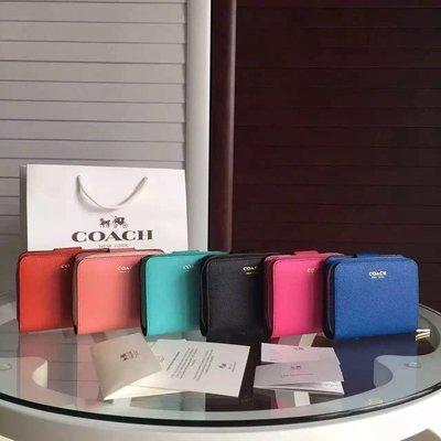 美國正品 琪琪OUTLET代購 COACH 49352 新款防刮真皮短夾 女士拉鏈錢包 多層卡夾 零錢袋 附購買證明