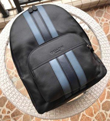 COACH 49324 新款男士條紋後背包 時尚拼色旅行包 容量大 內置筆電隔層