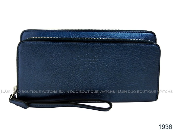 金鐸精品~1936 COACH F52718 藍色皮革紋 雙拉鍊長夾 全新品