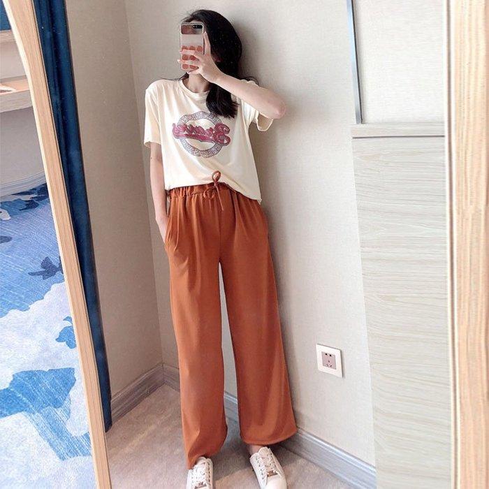 時尚套裝女夏季2019新款ins學生寬鬆短袖T恤洋氣休閒闊腿褲兩件套